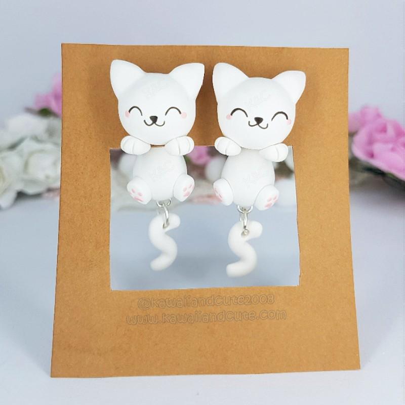 White Cat Clinging Ears