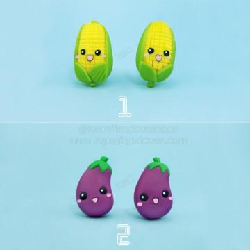 Kawaii eggplants and corn