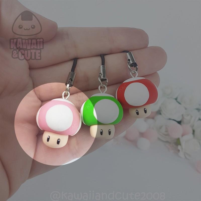 Pink Mushroom Keychain