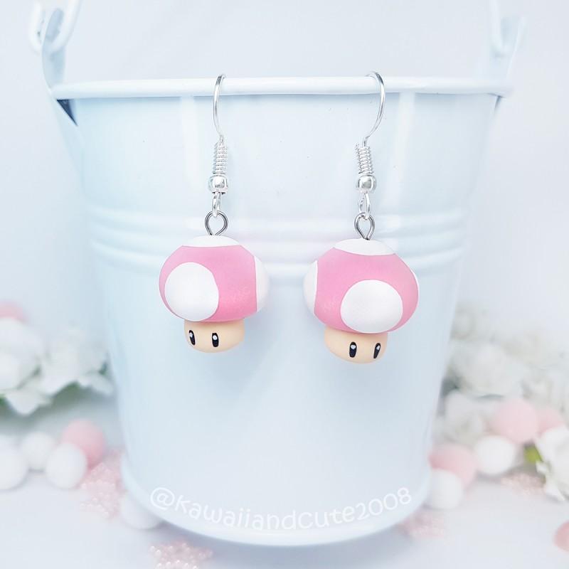 Pink Mushroom earrings